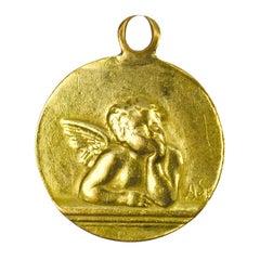 French Rafael's Cherub 18K Yellow Gold Charm Pendant