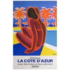 French Railway 1968 Cote d'Azur France Travel Poster, Villemot