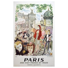 French Railway SNCF 1962 Paris France Travel Poster, Dignimont