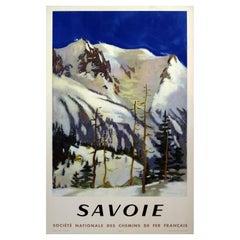 French Railways SNCF 1948 Savoy France Ski Travel Poster, Fontanarosa