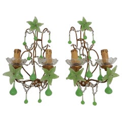 French Rare Flower One of a Kind Green Opaline Giltwood Sconces, circa 1920