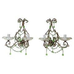 French Rare One of a Kind Green Opaline Sconces, circa 1920
