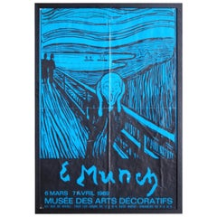 French Rare Poster for Edward Munch Exhibition, 1969