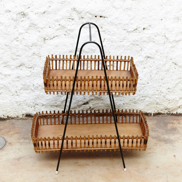Lacquered French Rattan and Black Metal Mid-Century Modern Magazine Holder, circa 1950 For Sale