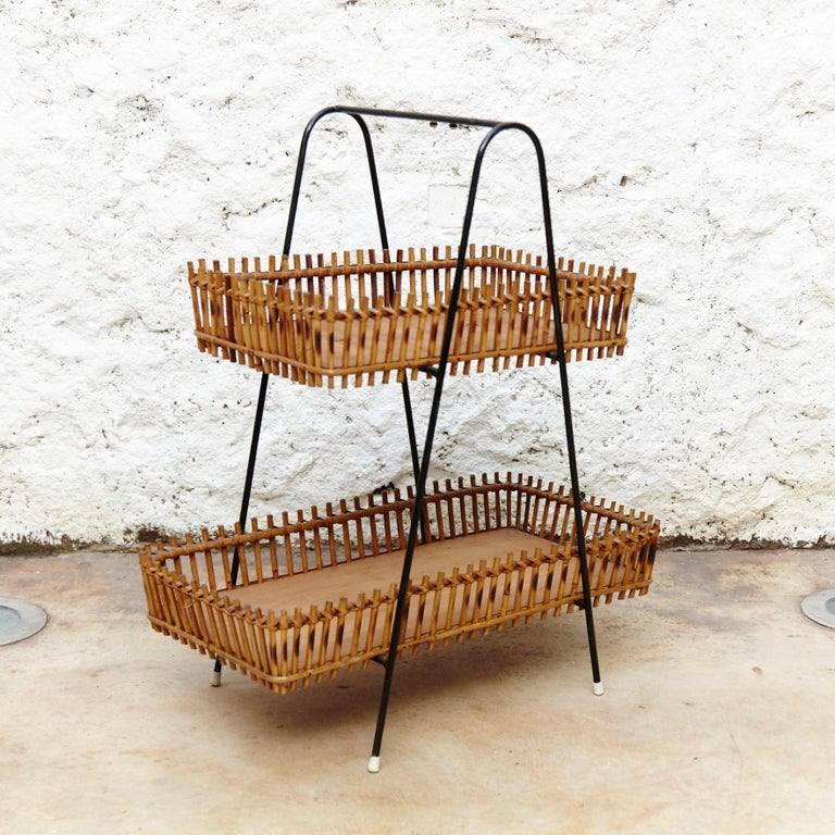 Mid-20th Century French Rattan and Black Metal Mid-Century Modern Magazine Holder, circa 1950 For Sale