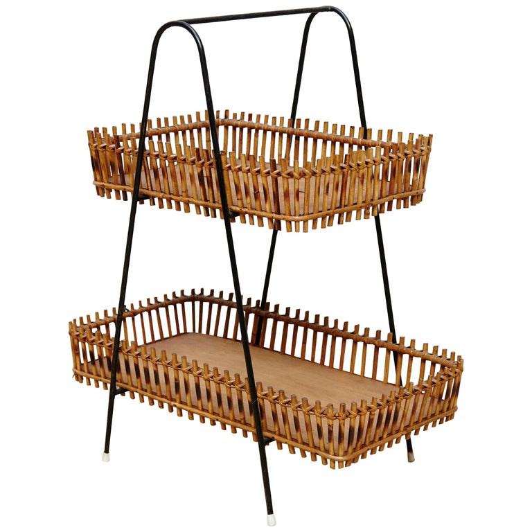 French Rattan and Black Metal Mid-Century Modern Magazine Holder, circa 1950 For Sale