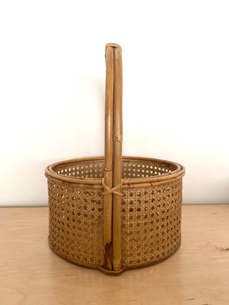 French Rattan and Cane Bottle Holder In Good Condition For Sale In Los Angeles, CA