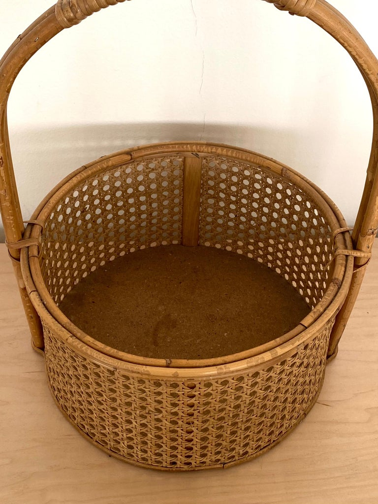 20th Century French Rattan and Cane Bottle Holder For Sale