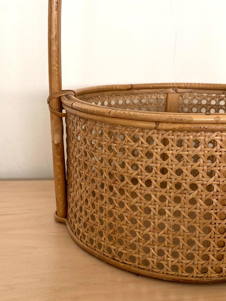 French Rattan and Cane Bottle Holder For Sale 1