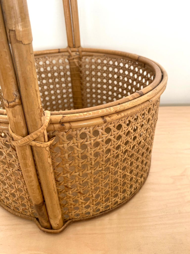 French Rattan and Cane Bottle Holder For Sale 3