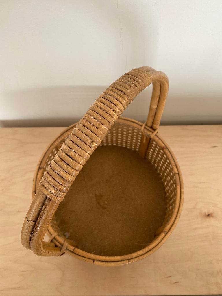 French Rattan and Cane Bottle Holder For Sale 4