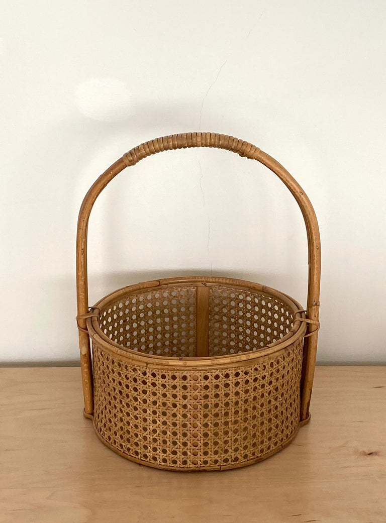 French Rattan and Cane Bottle Holder For Sale 5