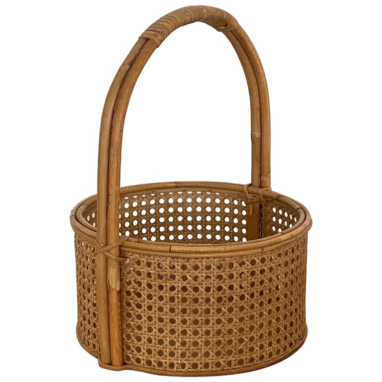 French Rattan and Cane Bottle Holder For Sale