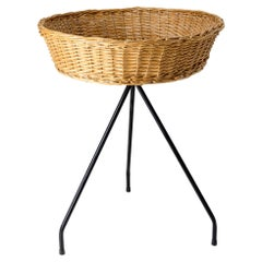 French Rattan Basket Stand Iron Legs Midcentury