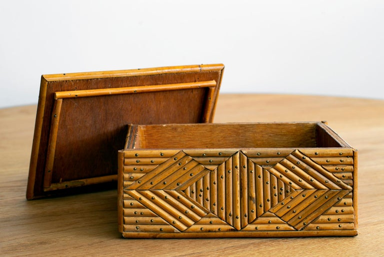 French rattan box with intricate pattern and incredible stud detail,
