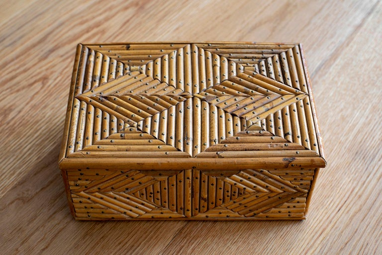 Mid-20th Century French Rattan Box For Sale