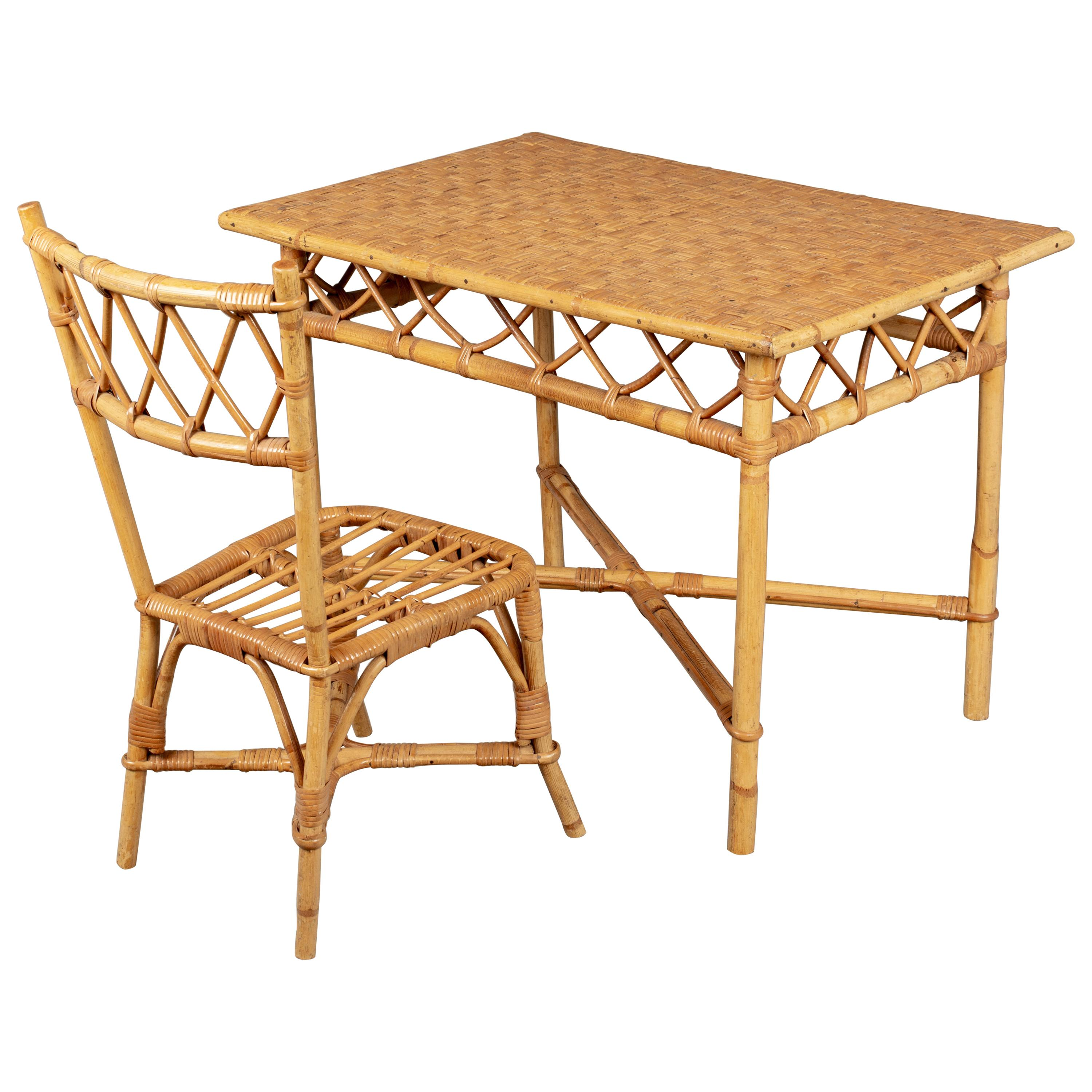 French Rattan Child's Desk and Chair Set