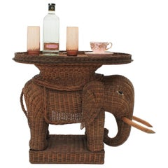 French Rattan Elephant Tray Table or Drinks Table