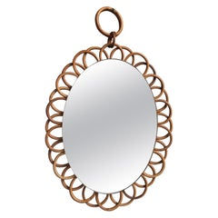 French Rattan Flower Mirror with Chain, circa 1950