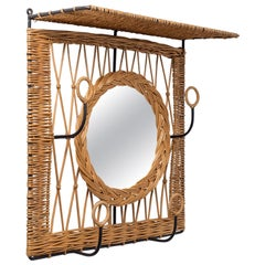 French Rattan Hat Rack with Mirror, circa 1960