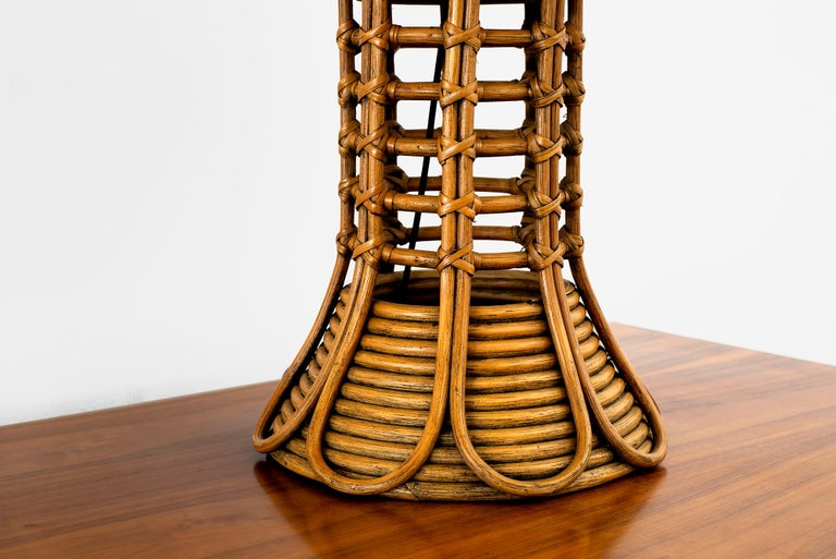 Mid-20th Century French Rattan Lamp For Sale