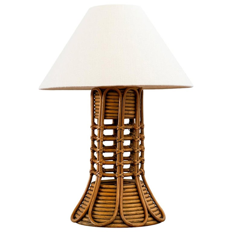 French Rattan Lamp For Sale