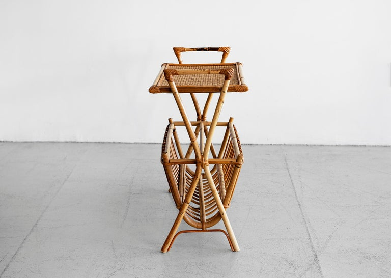 French rattan magazine holder and side table.