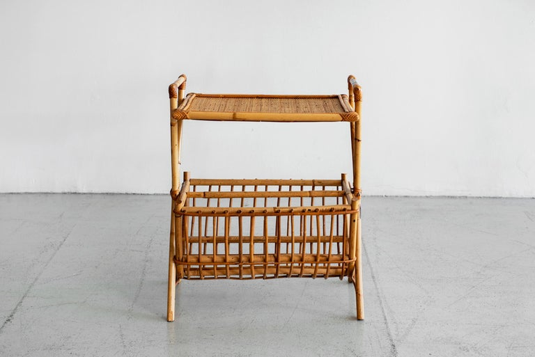 Mid-Century Modern French Rattan Magazine Table For Sale