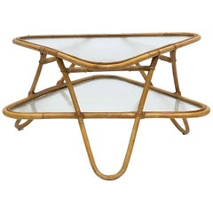 French Rattan Midcentury Accent or Low Table of Cane, Bamboo and Glass