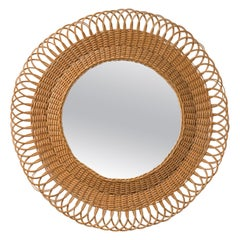 French Rattan Mirror, 1960s