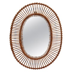 French Rattan Oval-Shaped Wall Mirror, circa 1960s
