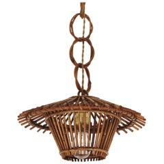 French Rattan Pagoda Pendant Hanging Light / Lantern, 1960s