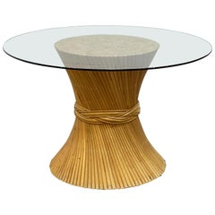 Rattan Round or Center Table with Glass Top - Attributed to McGuire