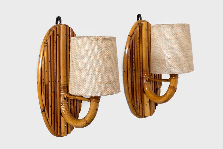 French Rattan Sconces In Good Condition For Sale In Los Angeles, CA
