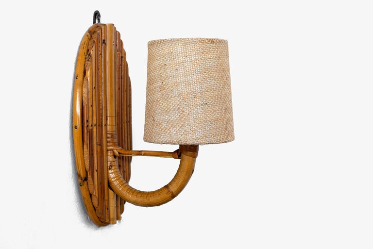 Mid-20th Century French Rattan Sconces For Sale