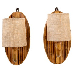 French Rattan Sconces