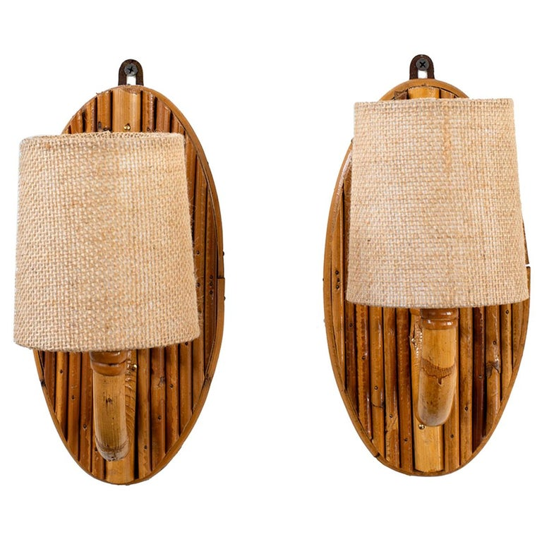 French Rattan Sconces For Sale