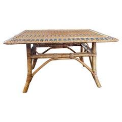 French Rattan Side Table, Art Nouveau