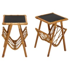 French Rattan Side Tables