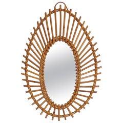 French Rattan Sunburst Mirror, 1960s