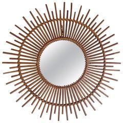 French Rattan Sunburst Mirror