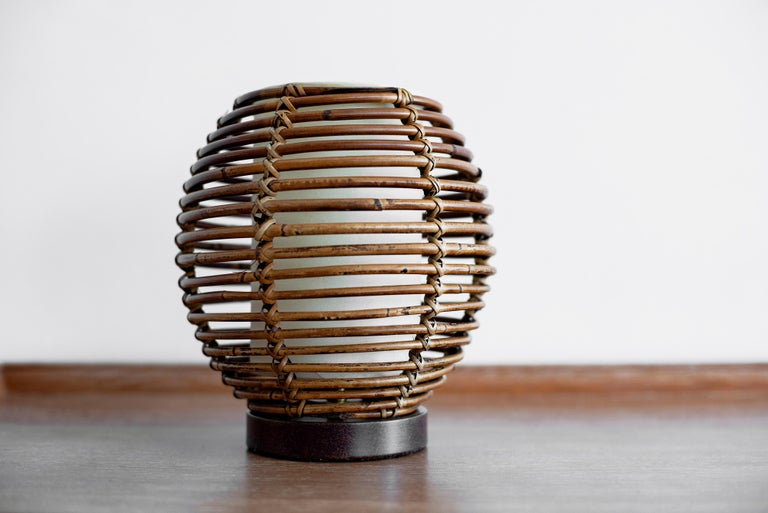 20th Century French Rattan Table Lamp For Sale