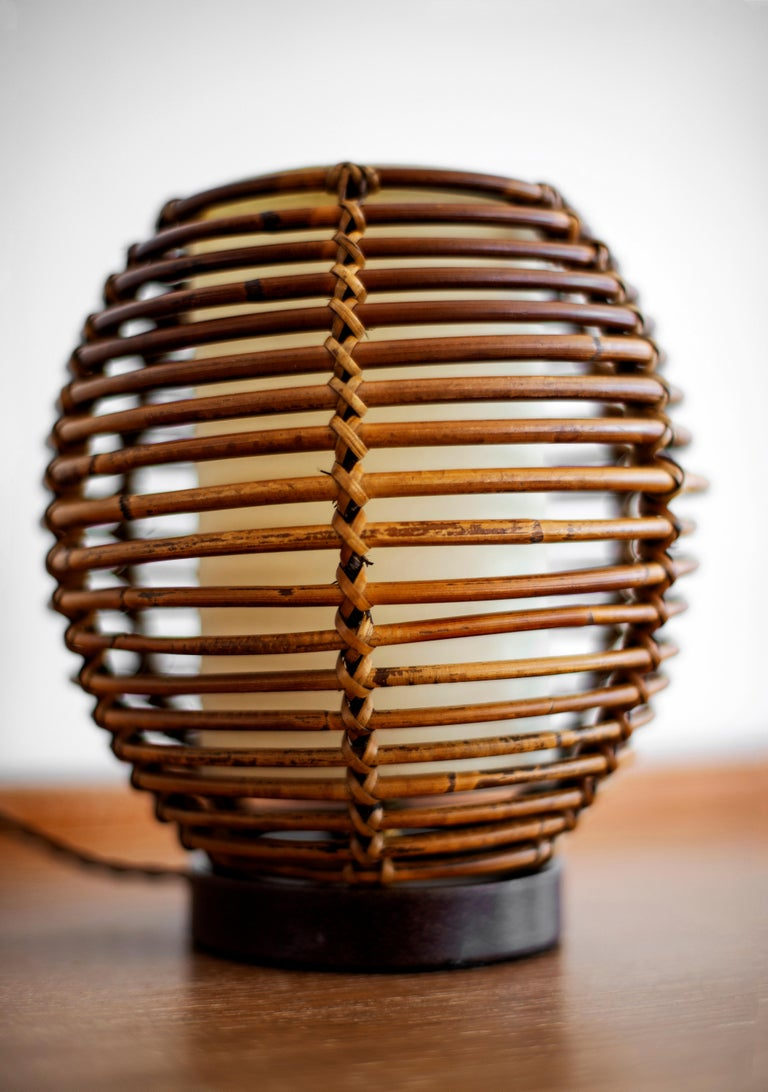 French Rattan Table Lamp For Sale 1