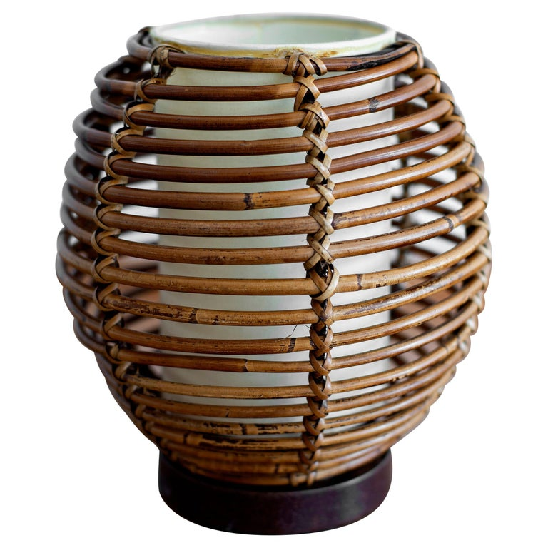 French Rattan Table Lamp For Sale