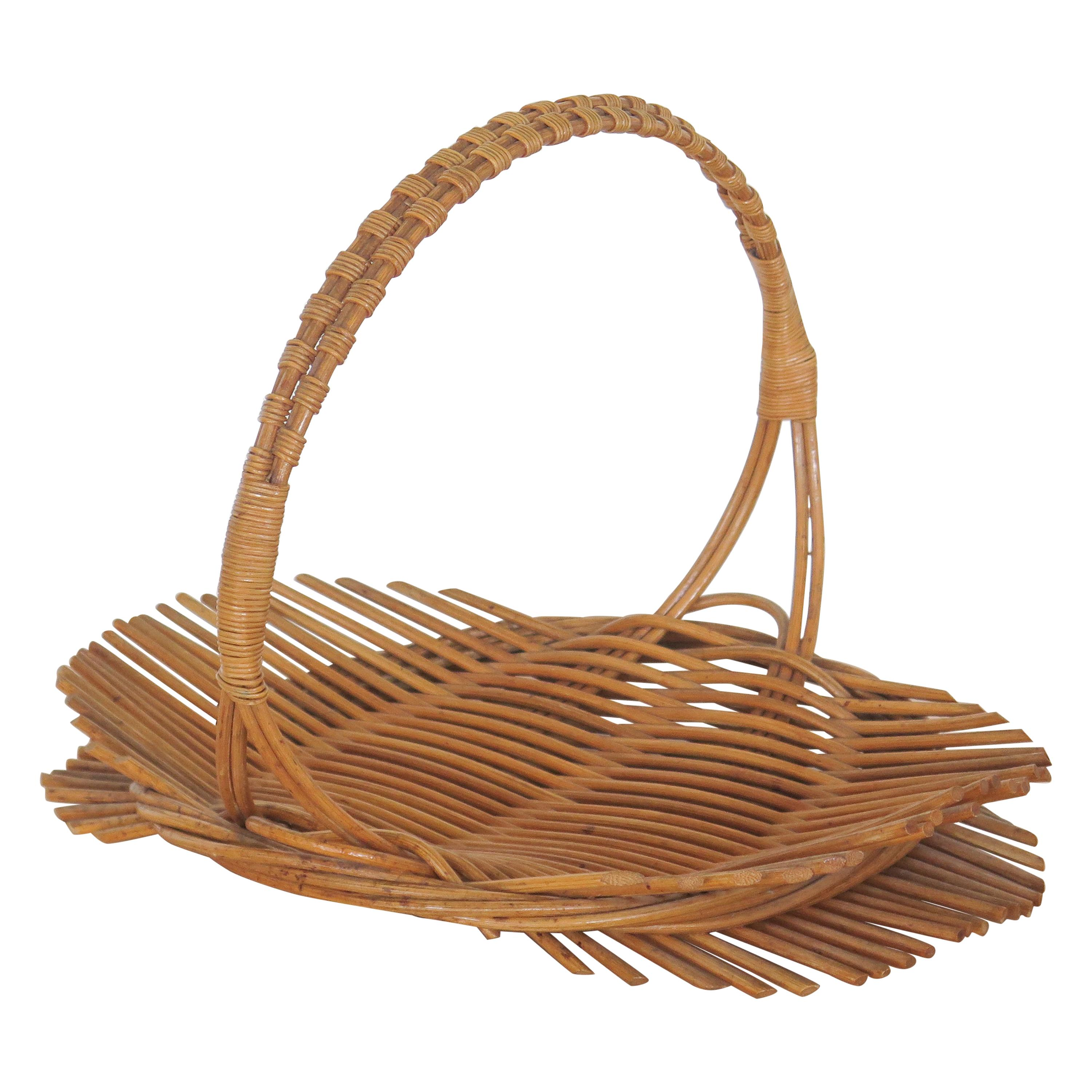 French Rattan Tray with Handle