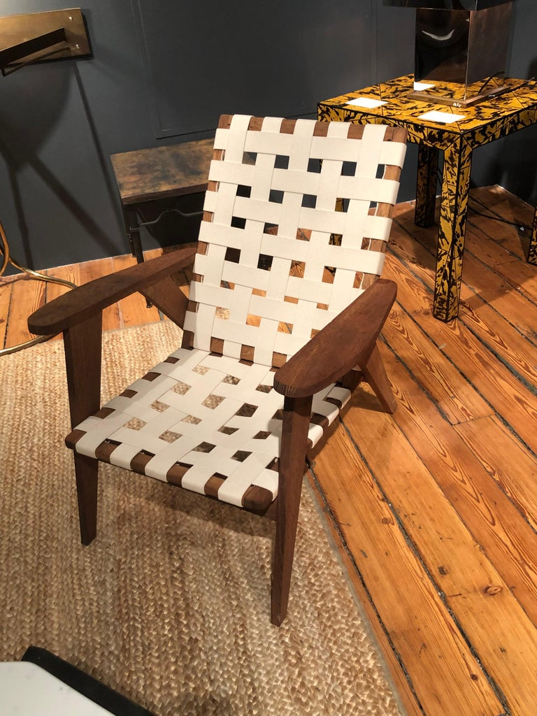 Pair of French Reconstruction armchairs in oak and cotton straps. 2 pairs available. Measures: 30 x 31 x 27.