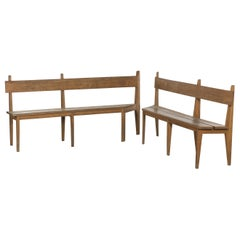 French Reconstruction Era Benches Pair, 1940s