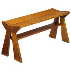 French Reconstruction Era Solid Oak Compact Bench, France, 1940s