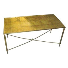 French Rectangular Brass Coffee Table with Gold-Leafed Glass Top