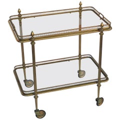 French Rectangular Drinks Cart of Brass with Removable Top Serving Tray